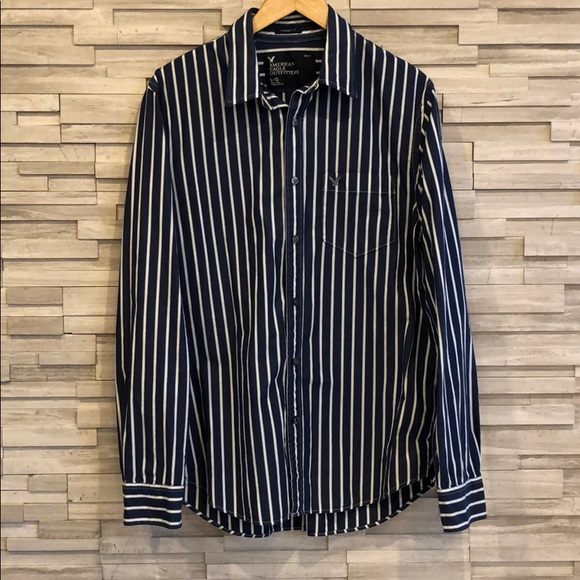 AE Men's Casual Button Up in Dark Blue Stripes, Lg